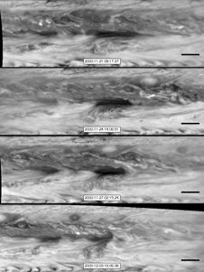 In this series of images from NASA&#39;s<br /> Cassini spacecraft, a dark, rectangular<br /> hot spot (top) interacts with a line of<br /> vortices that approaches from on the<br /> upper-right side (second panel). The<br /> interaction distorts the shape of the hot<br /> spot (third panel), leaving it diminished<br /> (bottom).<br /> Image credit: NASA/JPL-Caltech/SSI/GSFC&nbsp;&nbsp; <br /> <a href='http://www.nasa.gov/mission_pages/cassini/multimedia/pia16837.html' class='bbc_url' title='External link' rel='nofollow external'>� Full image and caption</a>