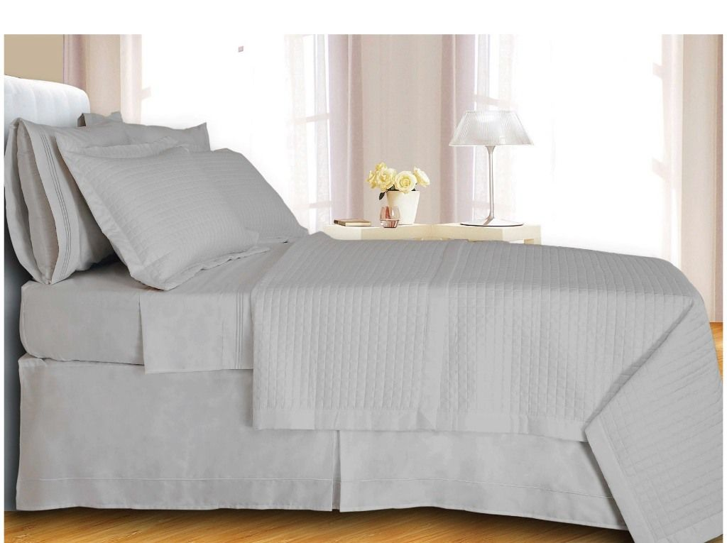 Scotts-sales White Checkered Coverlet Set Egyptian cotton 400 Thread count Reversible at Sears.com