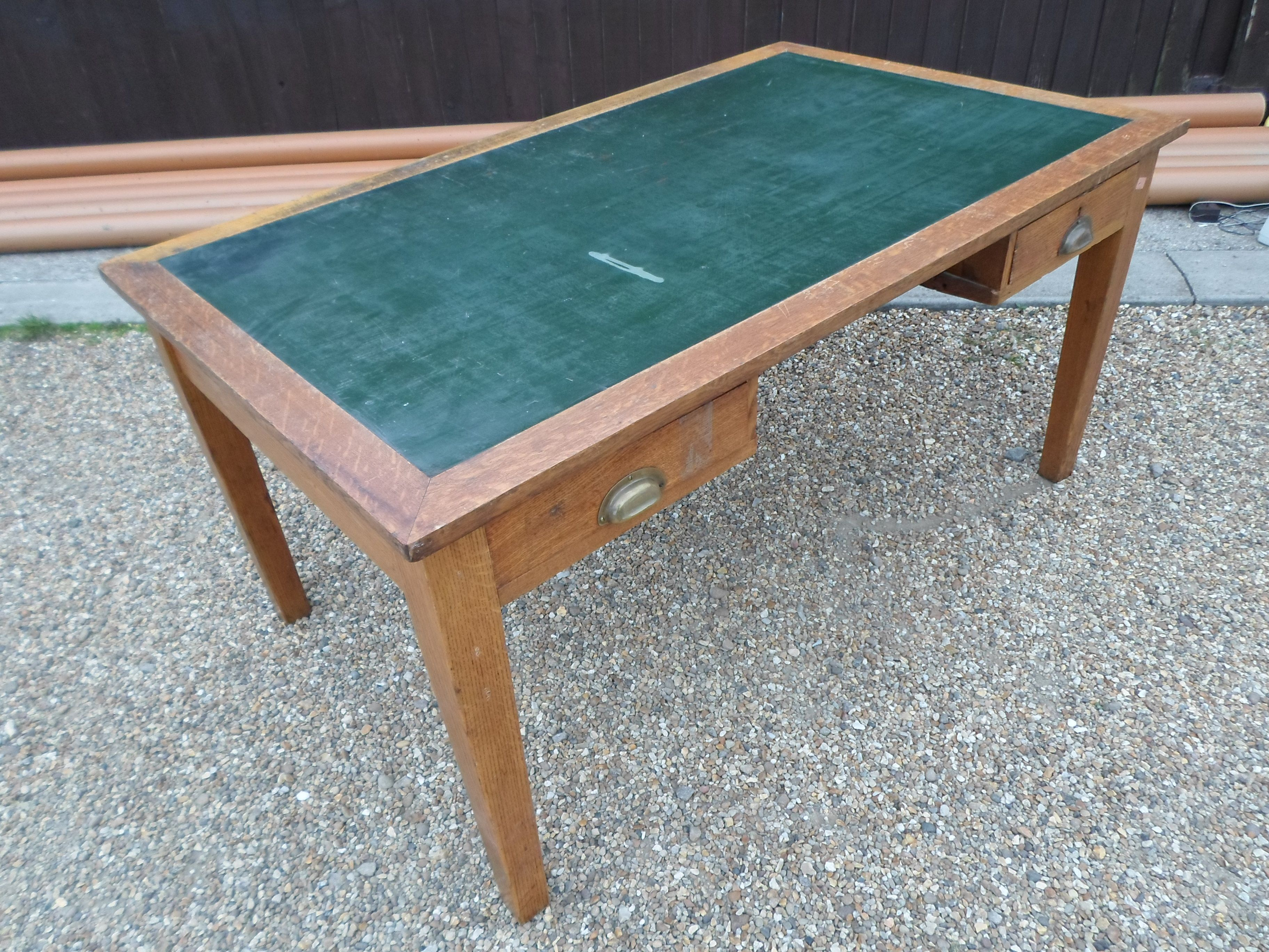 ANTIQUE COLLECTABLE OAK LIBRARY TABLE OFFICE DESK FAUX LEATHER INSERT . Full resolution  image, nominally Width 3648 Height 2736 pixels, image with #67412A.